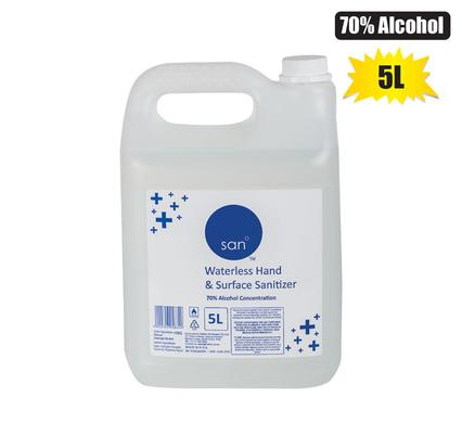 San Waterless Hand and Surface Sanitizer, Hand Cleanser Liquid 5L (70% Alcohol)
