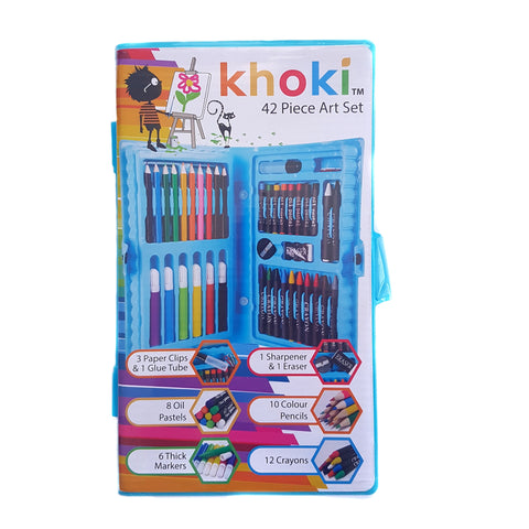 Compact Khoki 42pc Blue Plastic Carry Case Art Set