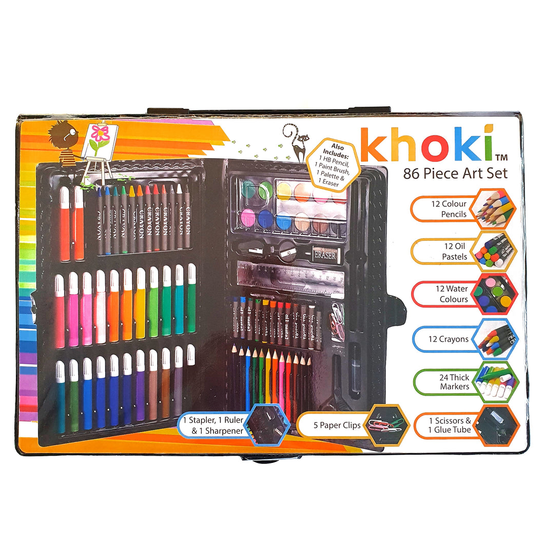 Khoki Art Set 86pc in Fold Up Carry Case