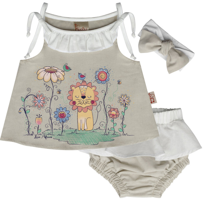 Cute Little Lioness Infant Set, Cotton Fabric - Sizes 12-24 Months