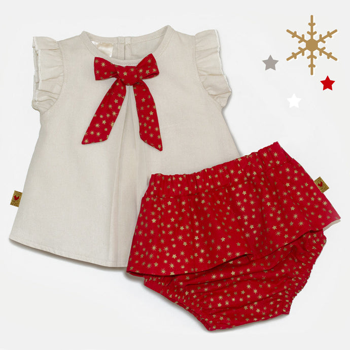 "Starry Bow Frilly Cotton ""Broekie"" Set, 3-24 Months"