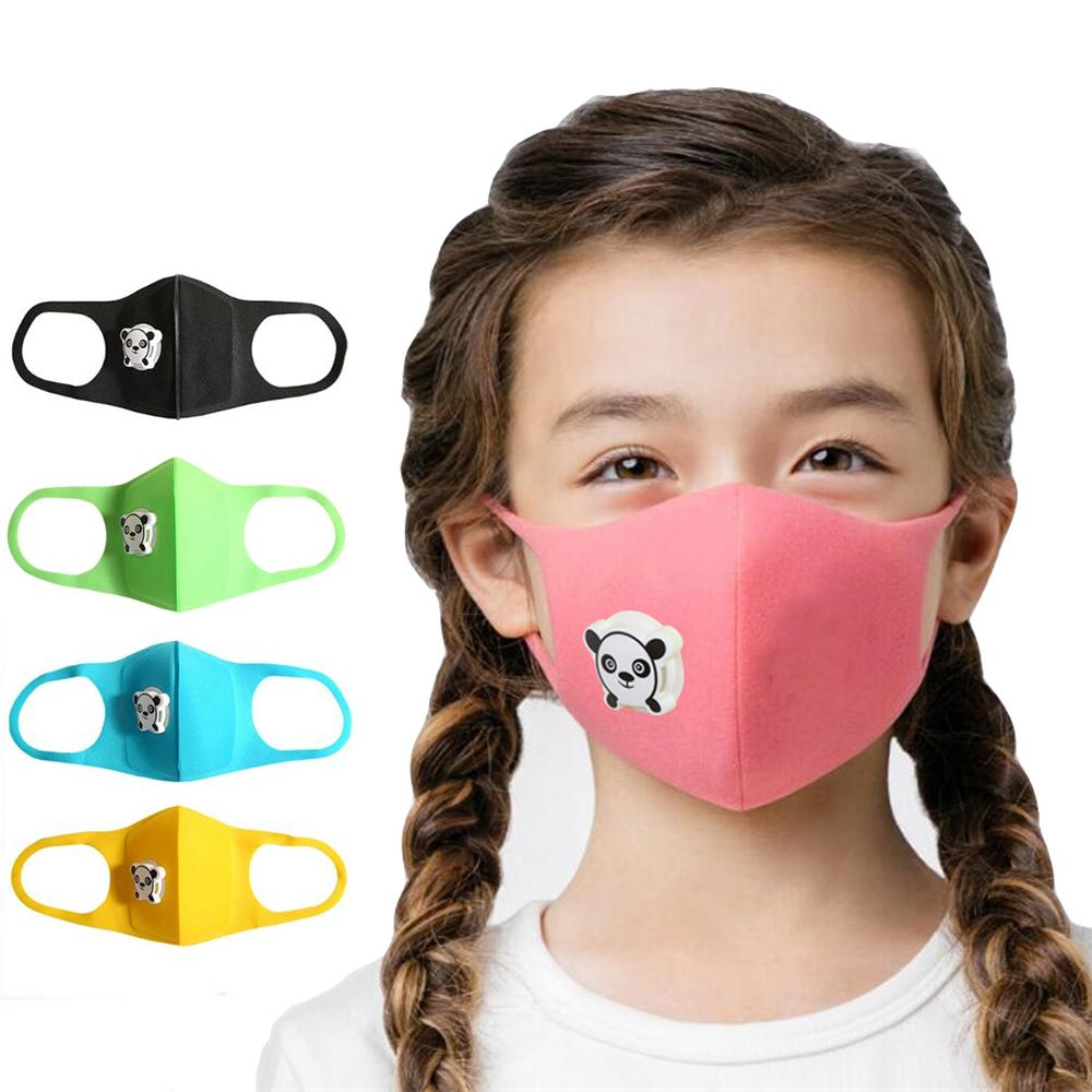 Children's Cute Panda Mouth Mask with Breathing Valve Anti-dust, Kids Cartoon Sponge Face Mouth Mask Outdoor Pollution Respirator