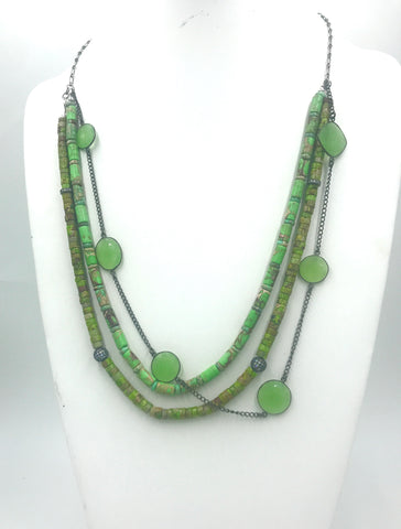 One-of-a-kind multi-strand Gaspeite and Green Chalcedony necklace