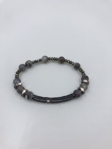 Botswana Agate bracelet with CZ spacer tube