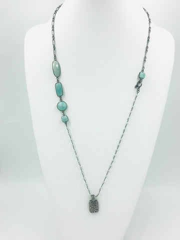 One-of-a-kind Amazonite stones in bezel with silver and rosary chain & sterling silver charm