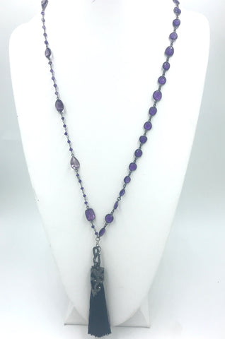 Amethyst Rosary Beads and Silver bezels with CZ Encrusted Tassel