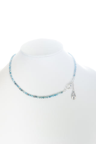 Apatite beaded choker with silver clasp and silver locket