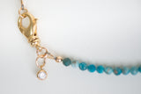 Apatite beaded choker with gold clasp and Cubic Zirconia charm