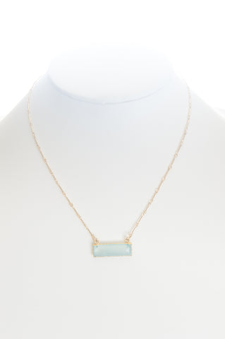 Chalcedony (Aqua) set in gold with gold-filled chain