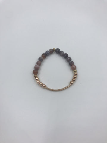 Rose Gold cz tube and Botswana Agate Beads