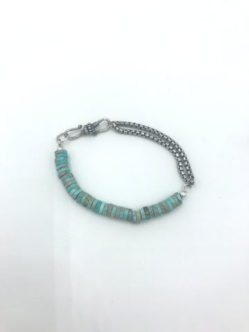 Blue Jasper Bracelet with Sterling Silver Chain
