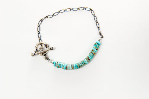 Bracelet Blue Jasper beads with silver chain and sterling silver toggle