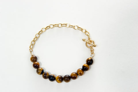 Bracelet Tiger Eye beads with chunky gold chain and gold toggle