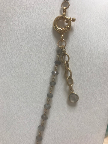 Labradorite rosary chain with silver Ethiopian cross