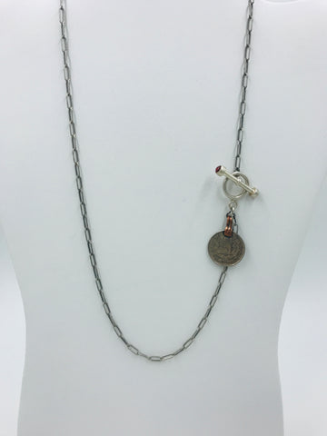 Oxidized Silver Chain with Sterling Silver Toggle with Red Garnet and Coin
