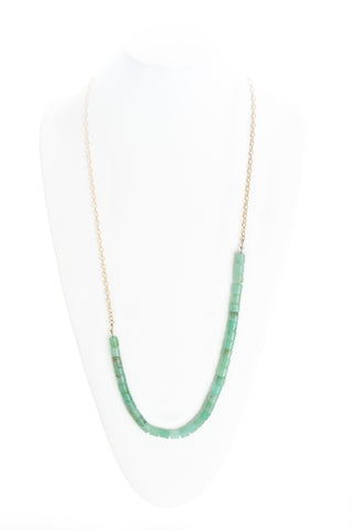 Chrysoprase beads with gold chain