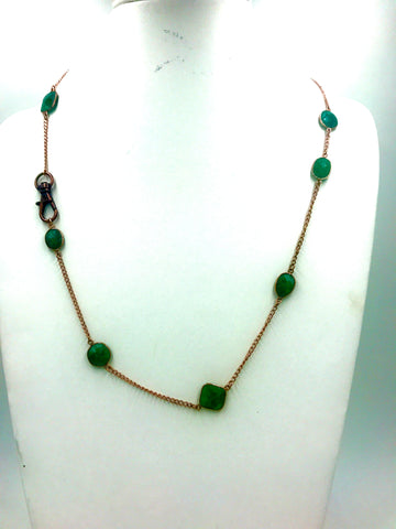 Emerald in Bezel and Rose Gold Chain