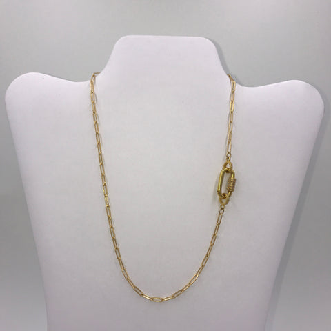 Gold necklace with pave cz gold carbiner closure