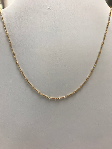Gold vertical bar with Cubic Zirconia and gold-filled chain