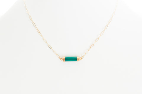 Chalcedony (green) barrel set in gold with gold-filled chain