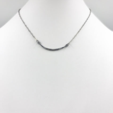 Pave Cubic Zirconia pendant in gunmetal and oxidized silver-filled chain