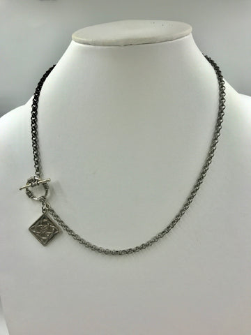 Silver necklace with toggle and Celtic charm