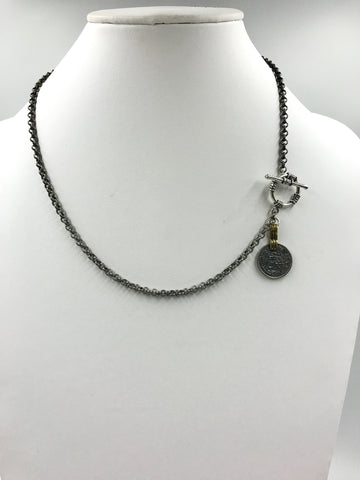 Silver necklace with toggle and antique silver coin