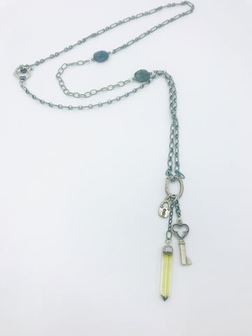 Mixed Silver Chains with dangling charms, colorful Labradorite faceted stones in bezel.