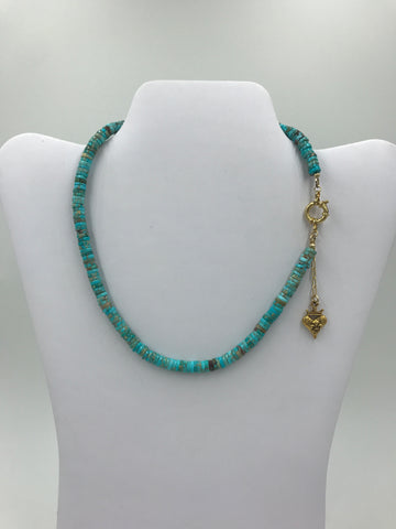 Blue Jasper Heishi beads choker with gold heart charm