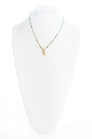 Jade beaded choker with chunky gold chain and gold lock