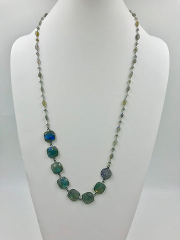 Labradorite Bezel chain with Labradorite rosary chain w/CZ connector