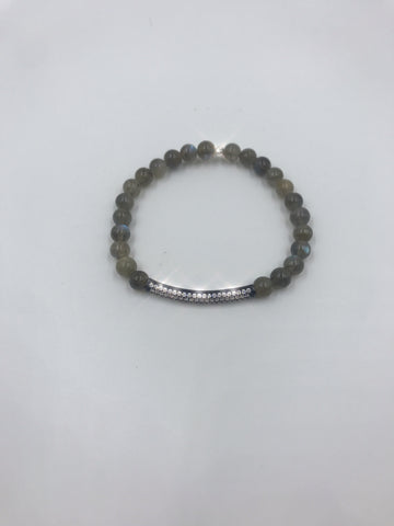 Labradorite bracelet with CZ spacer tube