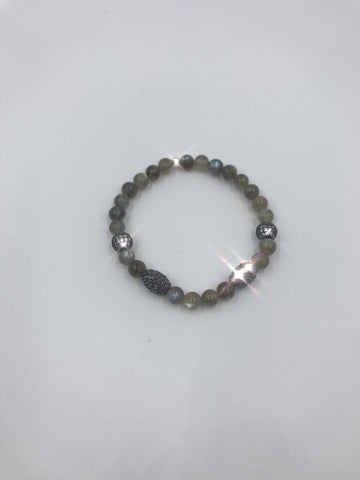 Labradorite bracelet with CZ pave beads