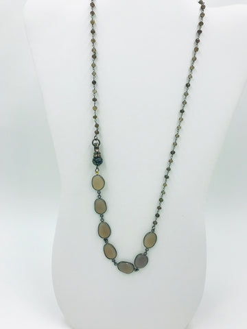 Chalcedony (Lavender) in Bezel with Smoky Quartz Rosary Chain