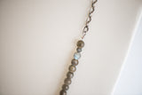 Labradorite beads, silver key charm and chunky silver chain