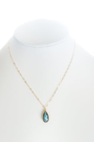 Labradorite set in gold bezel and gold-filled chain.