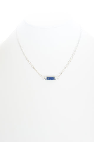 Lapis Lazuli barrel shape set in silver with silver-filled chain