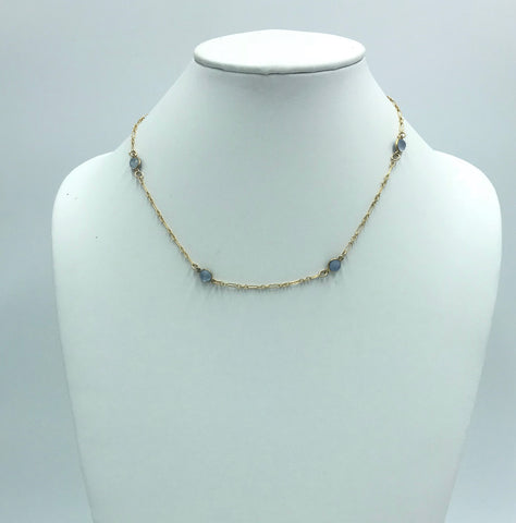 Moonstone choker with gold-filled chain