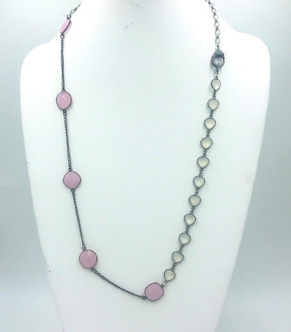 Pink Chalcedony set in silver bezel with Moonstone Rosary Beads