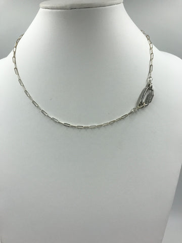 Silver necklace with pave cz gold carbiner closure