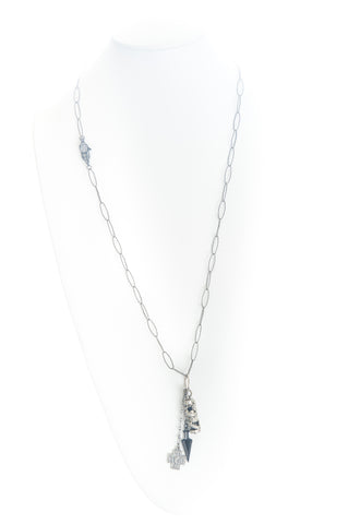 Silver Necklace with one-of-a-kind charms. Pave Cubic Zirconia clasp