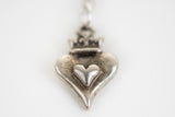 Silver choker chain with toggle and heart charm