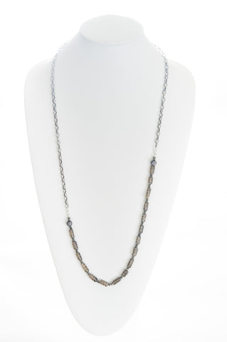 Smokey Topaz long beads, Hematite, silver pave Cubic Zirconia beads and chunky silver chain