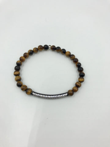 Tiger Eye bracelet with CZ pave tube connector