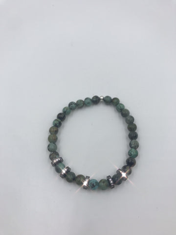 African Turquoise with thin pave cz beads
