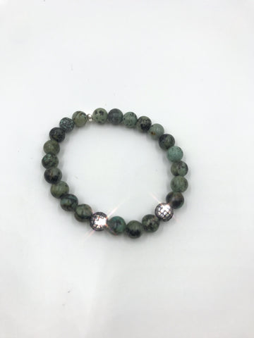 African Turquoise bracelet with round pave cz beads