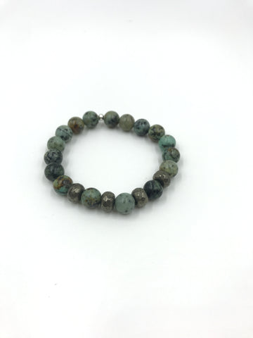 African Turquoise bracelet with Pyrite