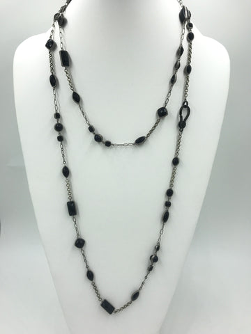Vintage one-of-a-kind black stones and silver chain necklace w/black pave clasp