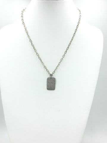 Dog Tag pendant on silver chain