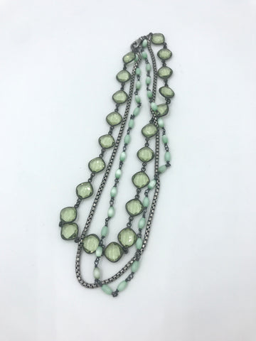 3-strand choker with Green Amethyst, Silver, Monalisa Rosary Chain